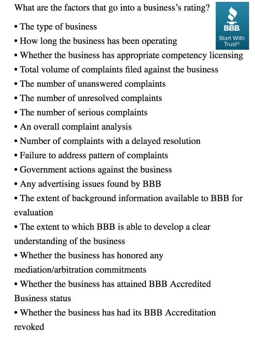 For debt settlement and debt consolidation companies -- BBB Accredited, Verse, A+ rated, what's the difference?