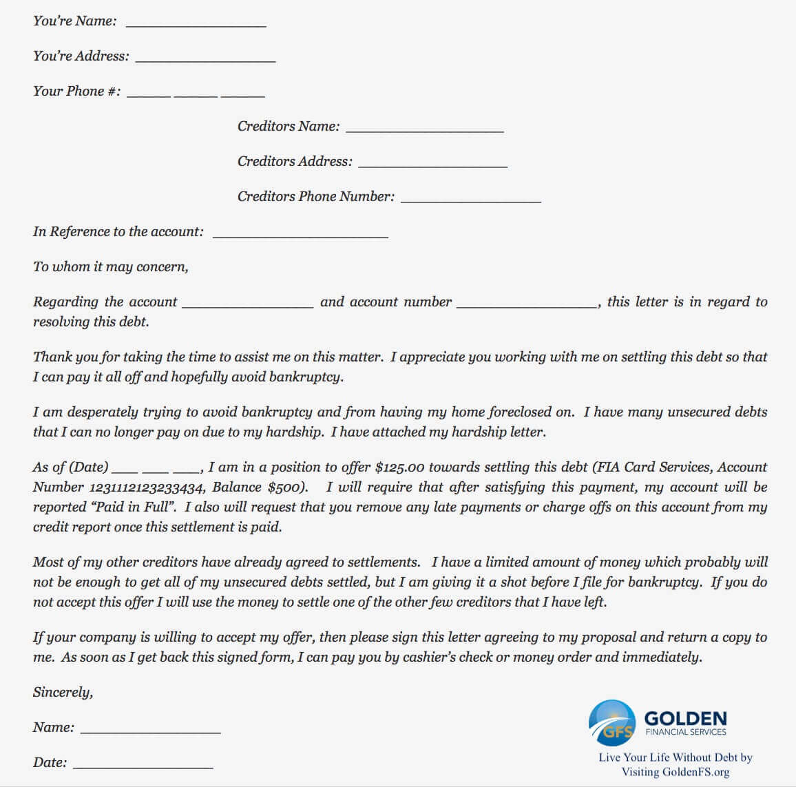 Letter To Collection Agency from goldenfs.org