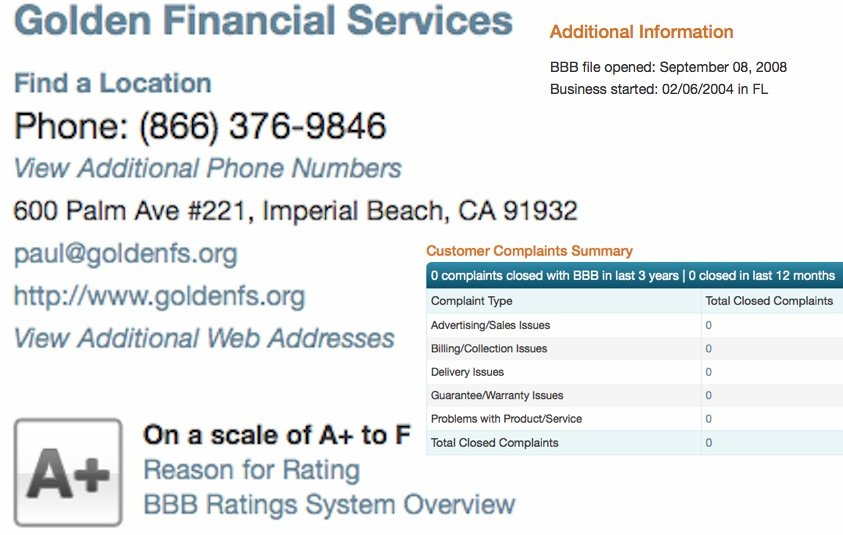BBB review on Golden Financial Services