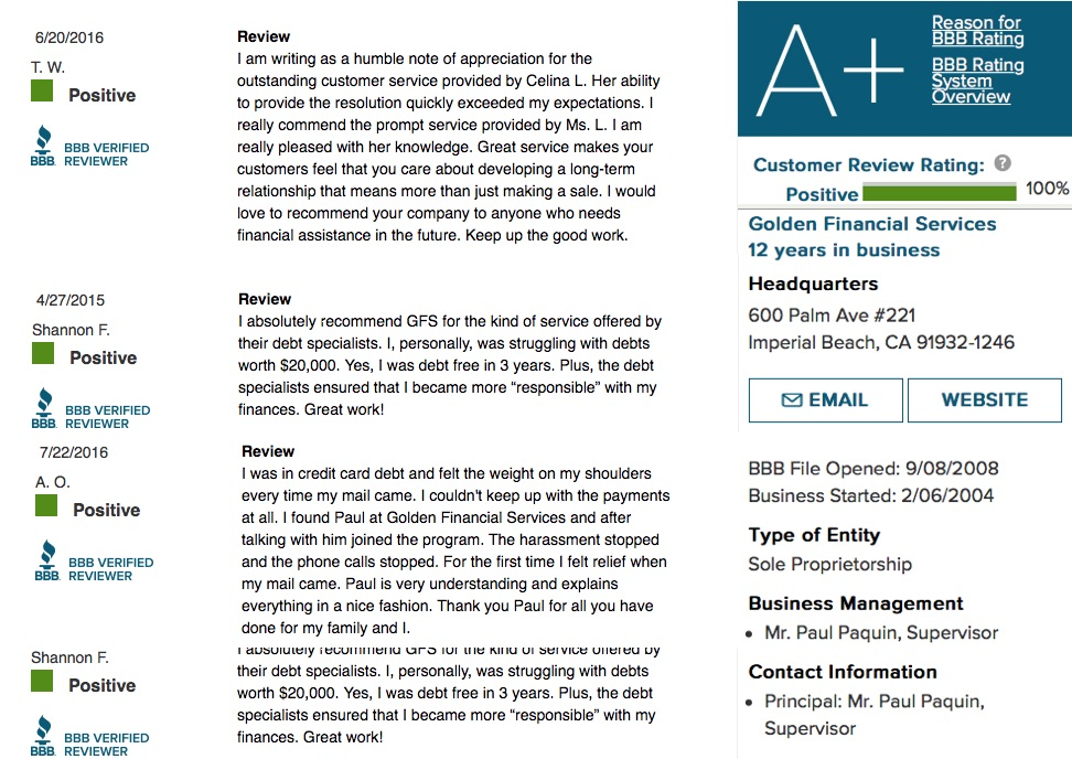 Golden Financial Services BBB accreditation information, rating details and see BBB client reviews.