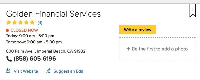 yellow pages golden financial services