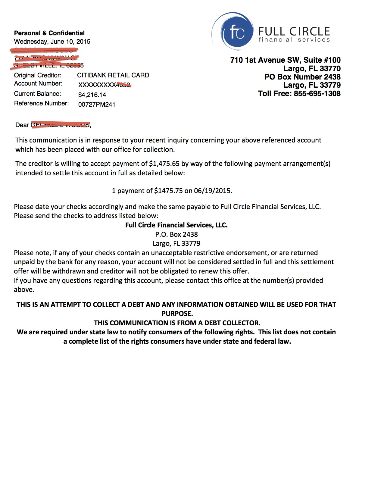 Debt Settlement Chicago Example Letter
