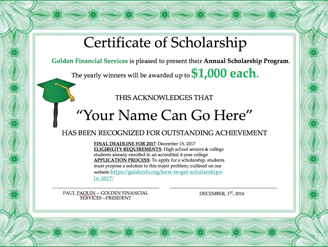College Scholarships In 2017 — By Golden Financial Services