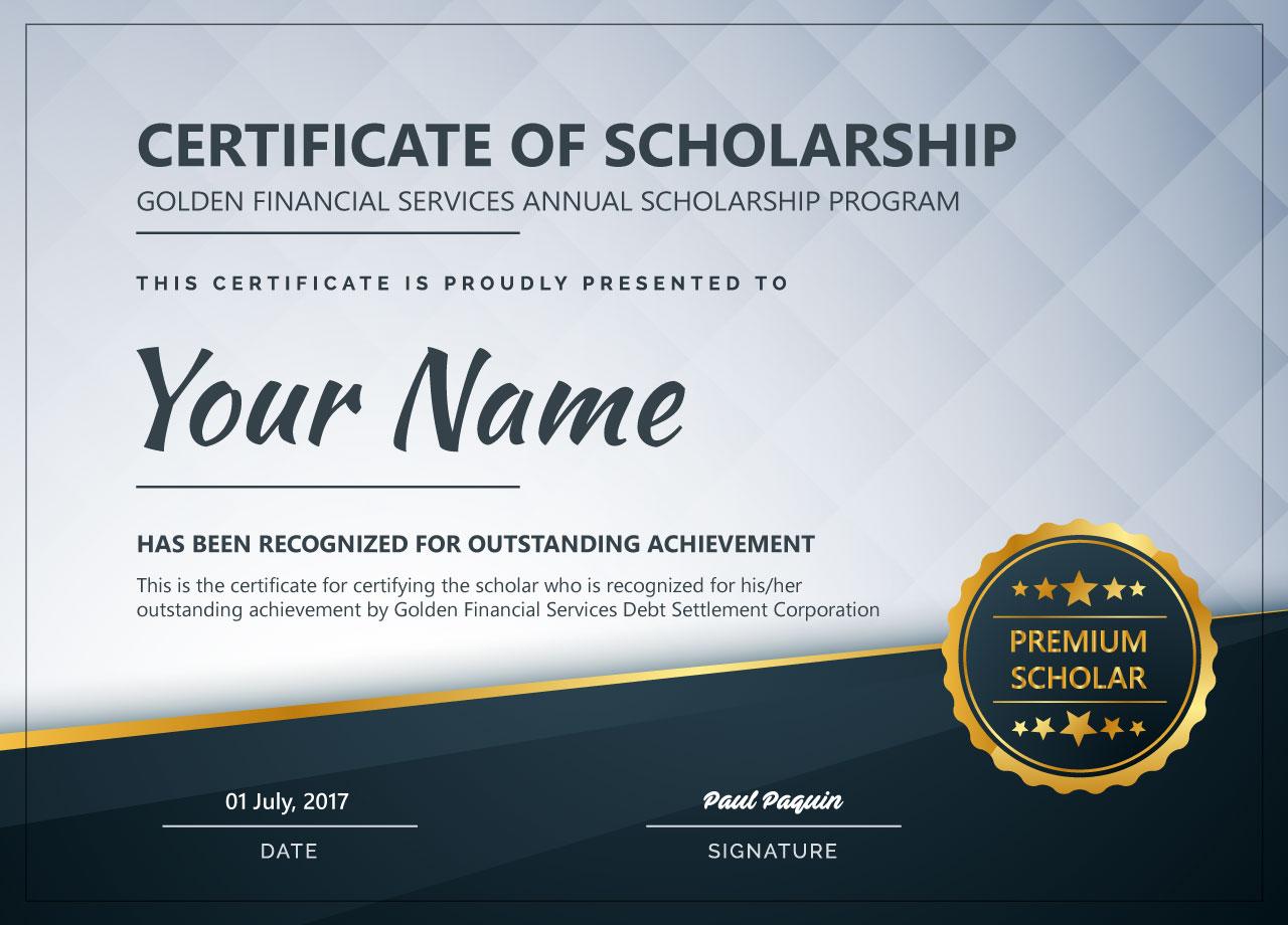 Scholarship Certificate Goldenfs