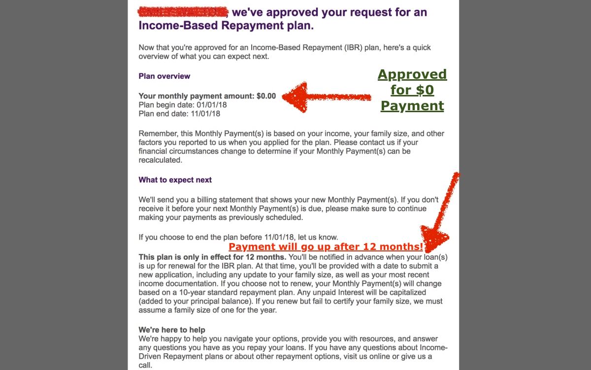$0 Income Based Repayment Plan and Entire Balance Getting Forgiven.