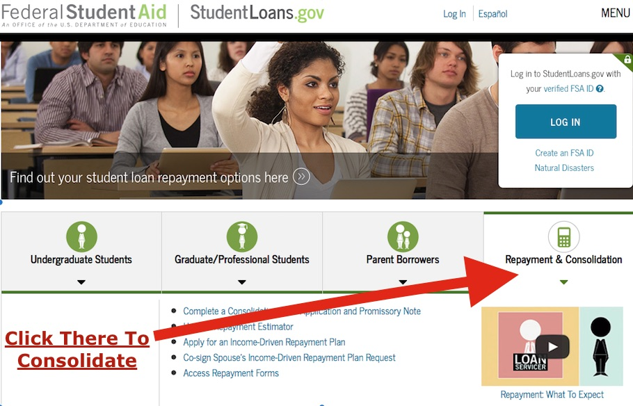consolidate and get on an income driven repayment plan in 2020 at studentloans.gov