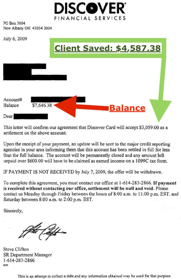 Discover Debt Settlement: A Nashville Tennessee Client Saves $4,587.38 with debt settlement at GoldenFS.org.