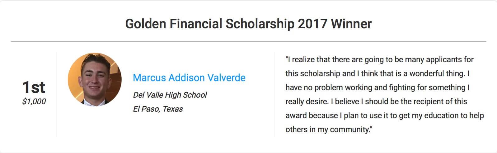 Scholarship Winner for 2017 at GoldenFS.org