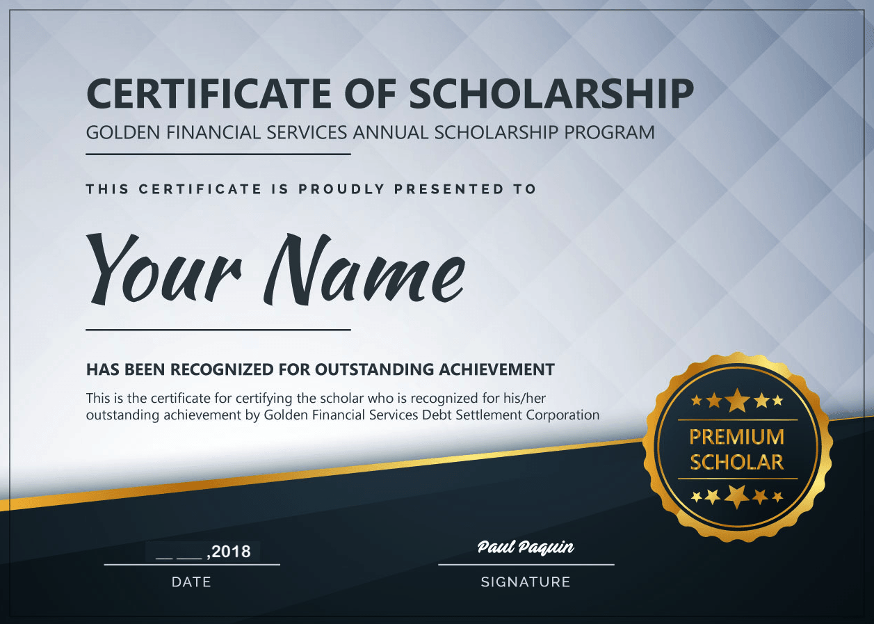 Golden Financial Services Scholarship Certificate