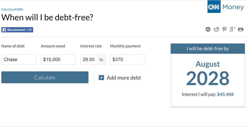 CNN Debt Calculator to Illustrated Minimum Payments to Pay Off Credit Card Debt