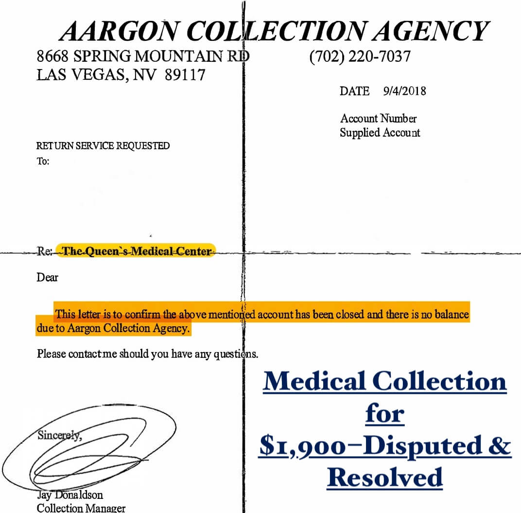 medical collection disputed and removed