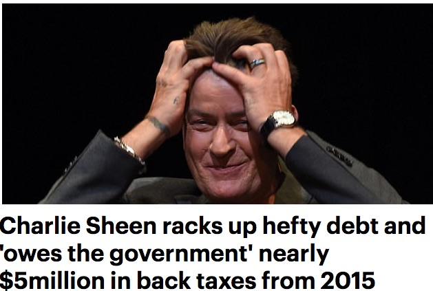 Charlie Sheen in DEbt