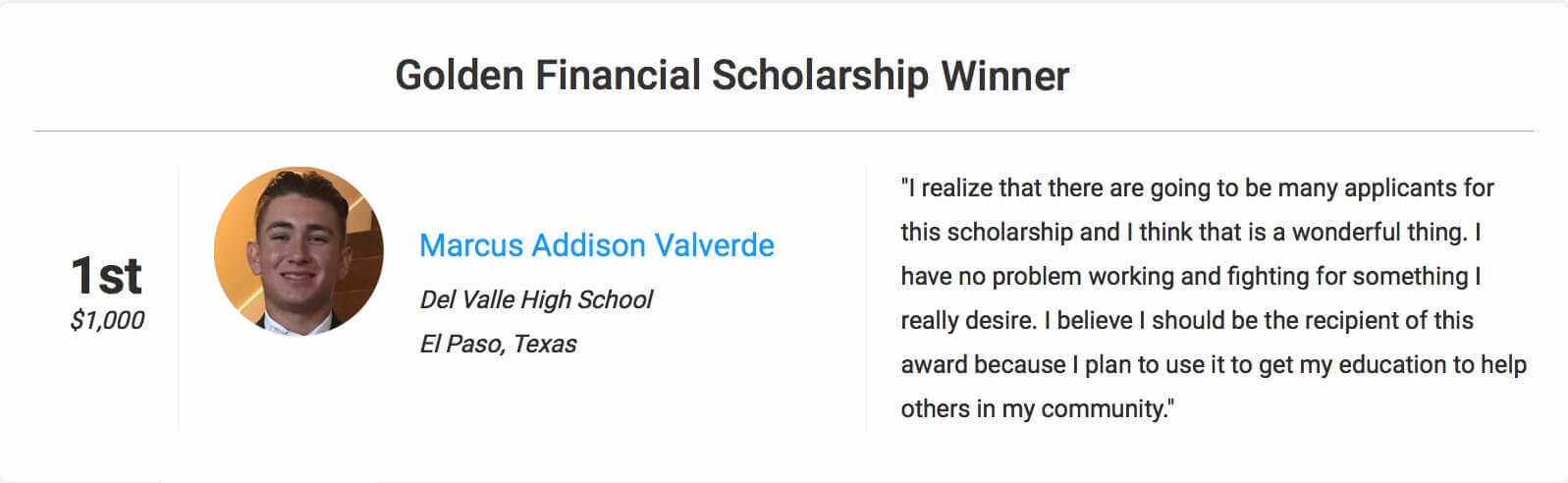 Golden Financial Scholarship contest winner