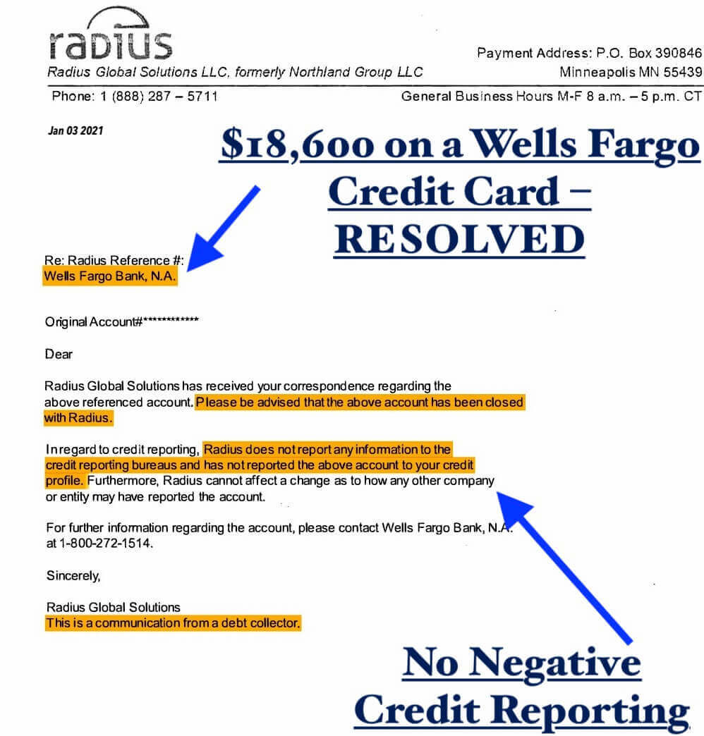 Radius Collection Account, originally a Wells Fargo Bank credit card–debt relief ny