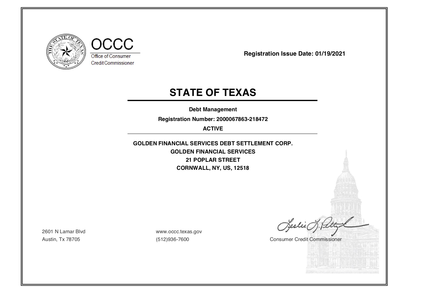 a Texas licensed debt management company